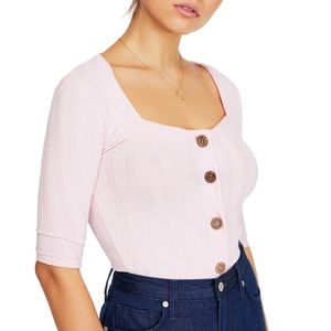 Free People Central Park Blouse in Blush